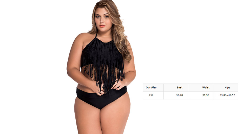 Womens Plus Size High Waisted Fringed Bikini Swimsuit (Size 2XL)