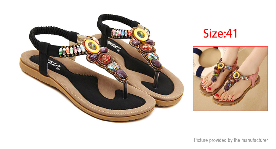 Womens Bohemia Colorful Beads Elastic Slip On Flat Sandals (Size 41)