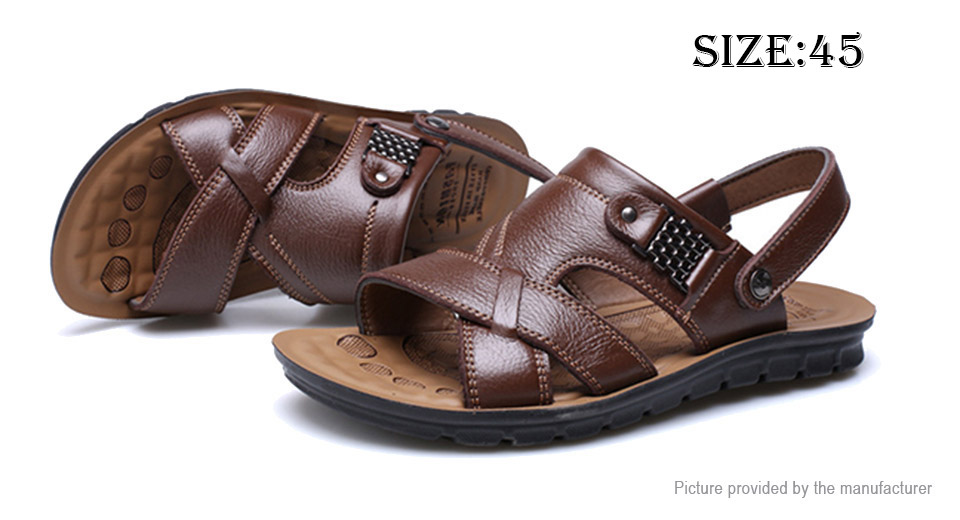 Mens Summer Beach Soft Leather Massage Sandals Slippers (Size 45)