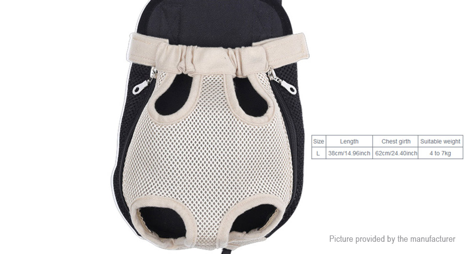Breathable Mesh Fabric Pet Dog Carrier Chest Backpack (Size L)