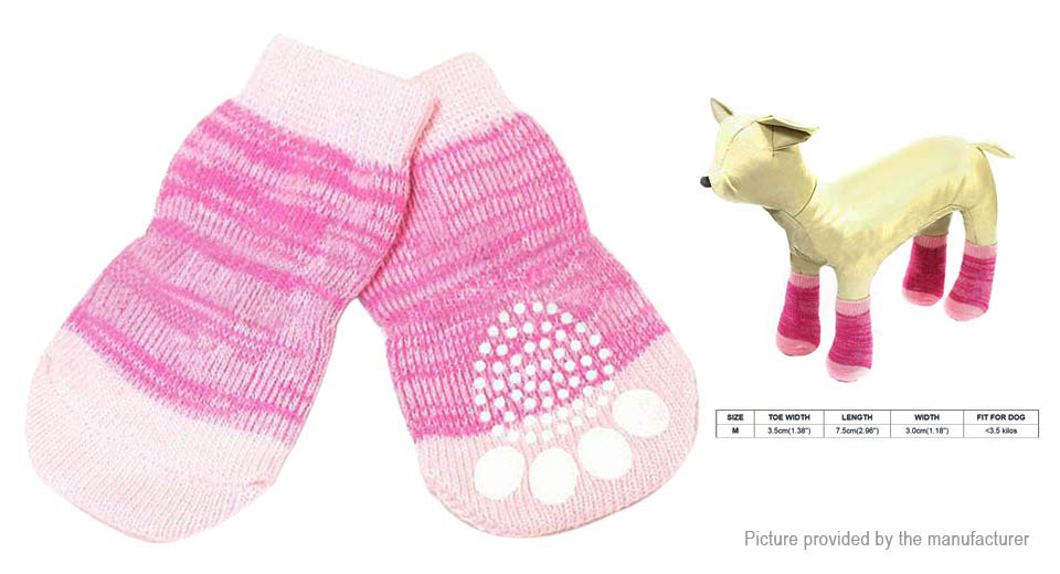 Pet Dog Cat Paw Print Anti-slip Breathable Cotton Knitted Socks (Size M/Pair)