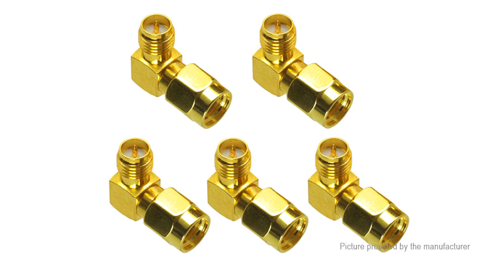 RP-SMA Male to RP-SMA Female Adapter Right Angle RF Connector (5-Pack)