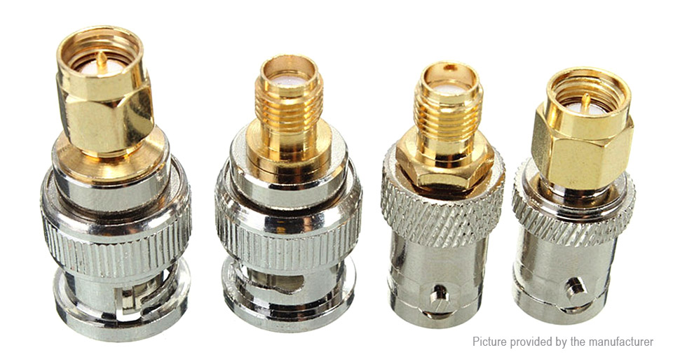 BNC Male/Female to SMA Male/Female Straight RF Connector Adapter (4 Pieces)