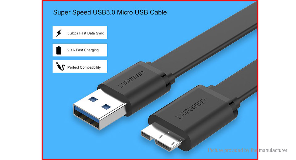 UGREEN US130 Micro-USB to USB 3.0 Data Sync / Charging Flat Cable (200cm)
