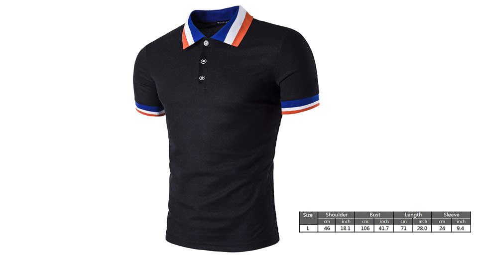 Mens Casual Collar Color Block Short Sleeve Polo T-Shirt (Size L)