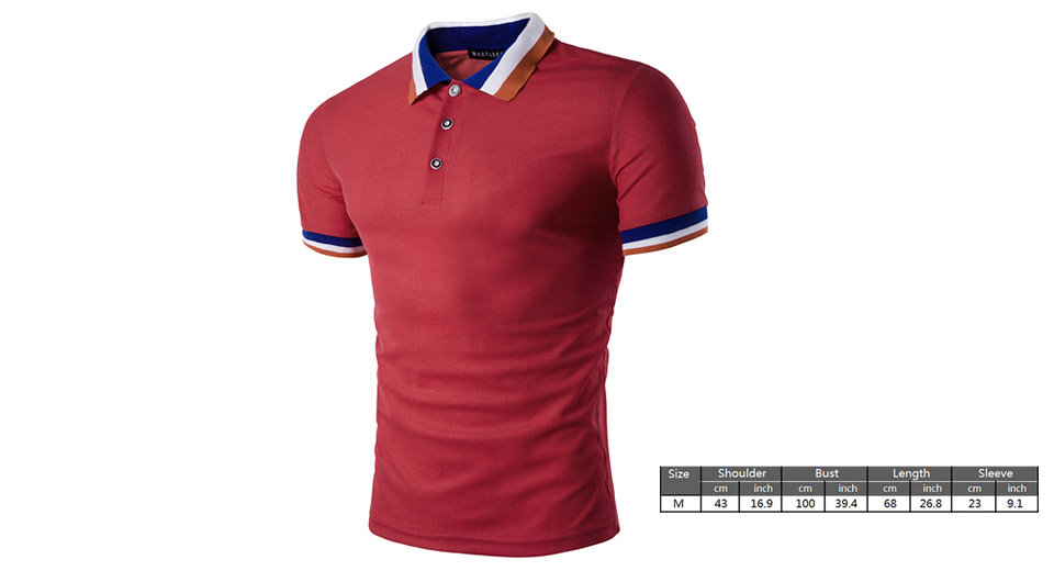 Mens Casual Collar Color Block Short Sleeve Polo T-Shirt (Size M)
