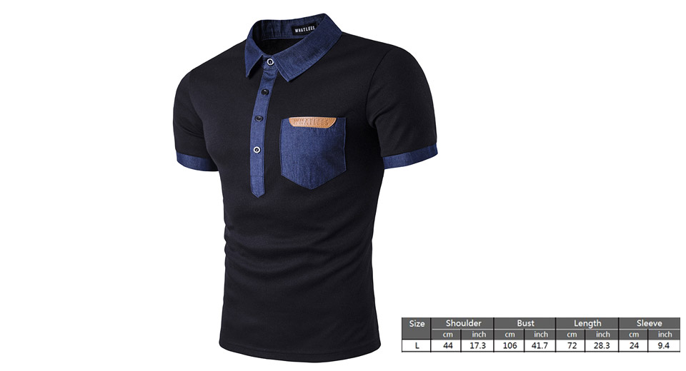 Mens Casual Short Sleeve Denim Pocket Polo T-Shirt (Size L)