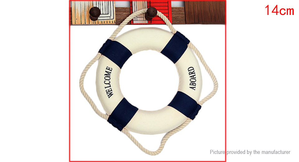 14cm Mediterranean Welcome Aboard Decorative Life Buoy Home Decor
