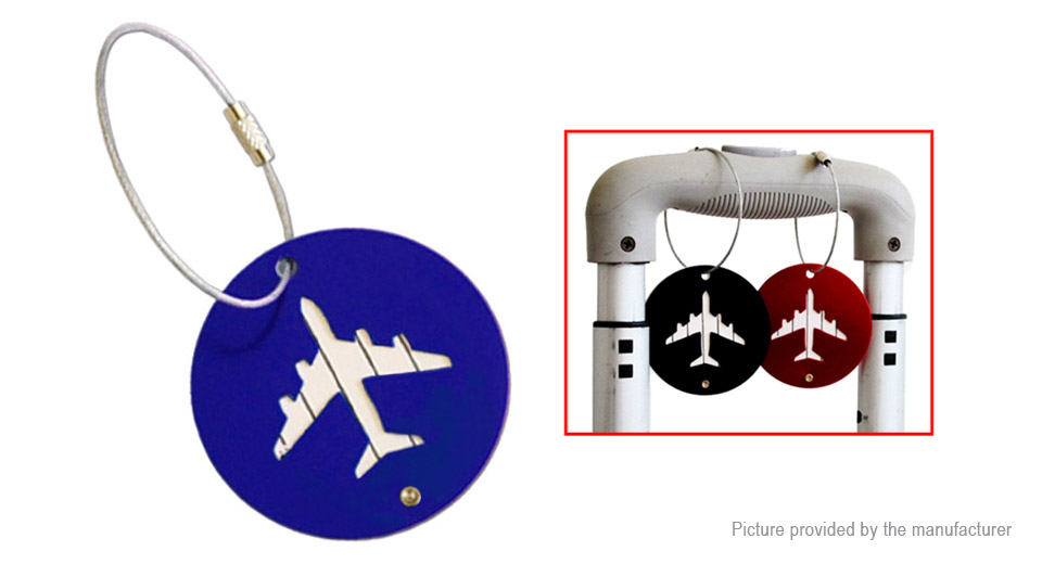 Luggage Tag Aircraft Round Shape Hangtag Travel Suitcase Label