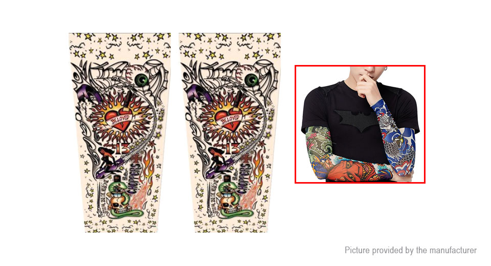 Unisex Outdoor Sports Cycling UV Protection Tattoo Arm Cooling Sleeves (Free Size/Pair)