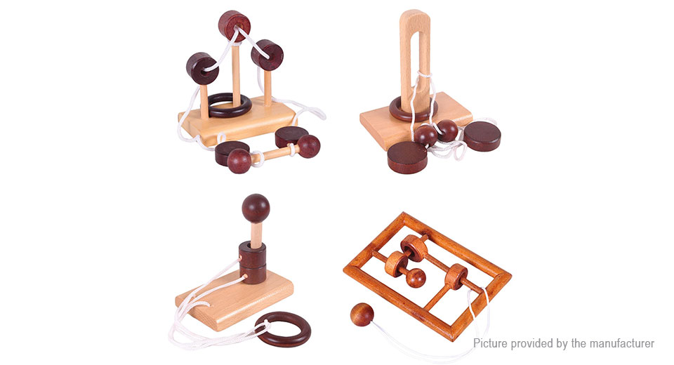 Classical Wooden Puzzle Set Solution Rope Central Brain Teaser (4 Sets)