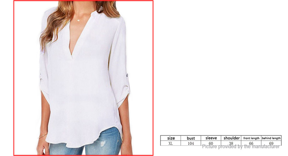 Womens Long Sleeve Deep V Neck Chiffon Casual Blouse (Size XL)