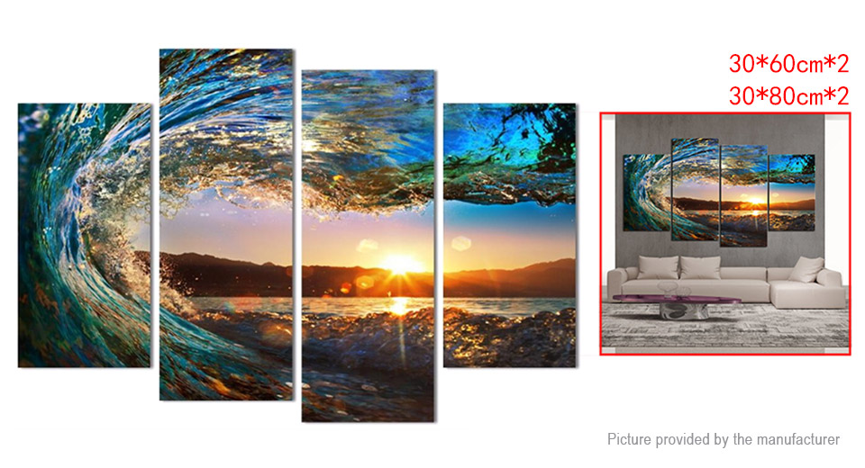 No Frame Modern Abstract Art Canvas Oil Painting Wall Decor (4 Pieces)