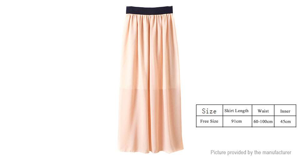 Womens High Waist Pleated Summer Long Length Maxi Skirt (Free Size)