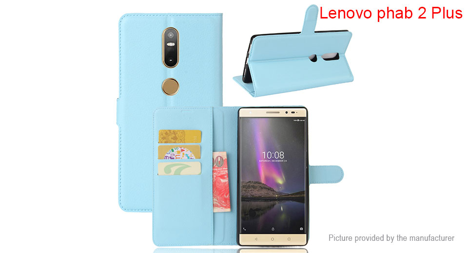 Flip-Open Protective Case Wallet Cover for Lenovo Phab 2 Plus