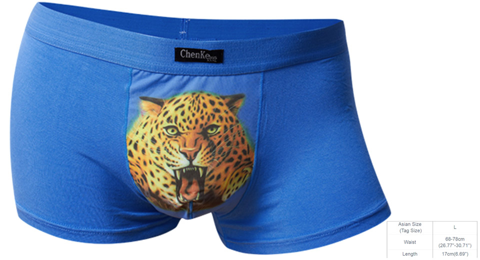 CHENKE365 Mens Sexy Breathable 3D Tiger Pinted Underwear Boxer Briefs (Size L)