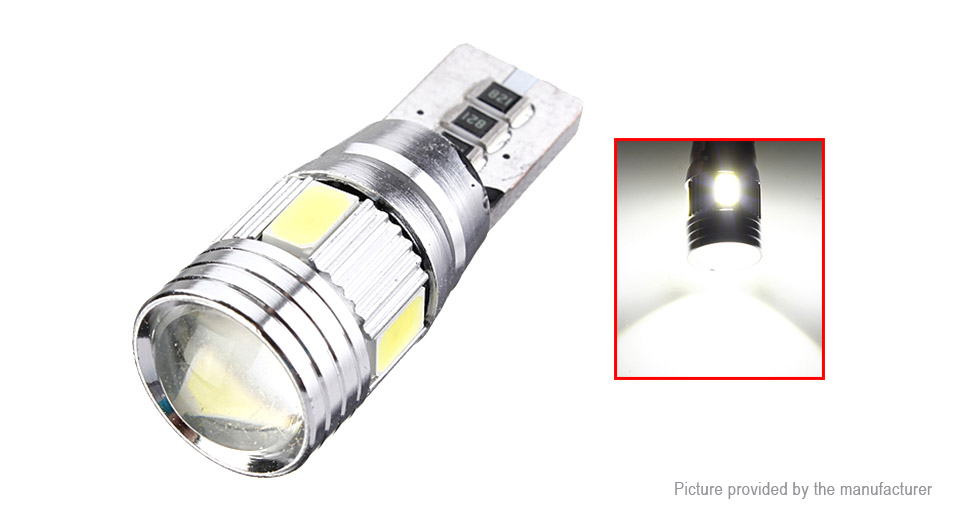 T10 3W 6*5630 SMD 270LM 6000K Pure White LED Car Light Bulb