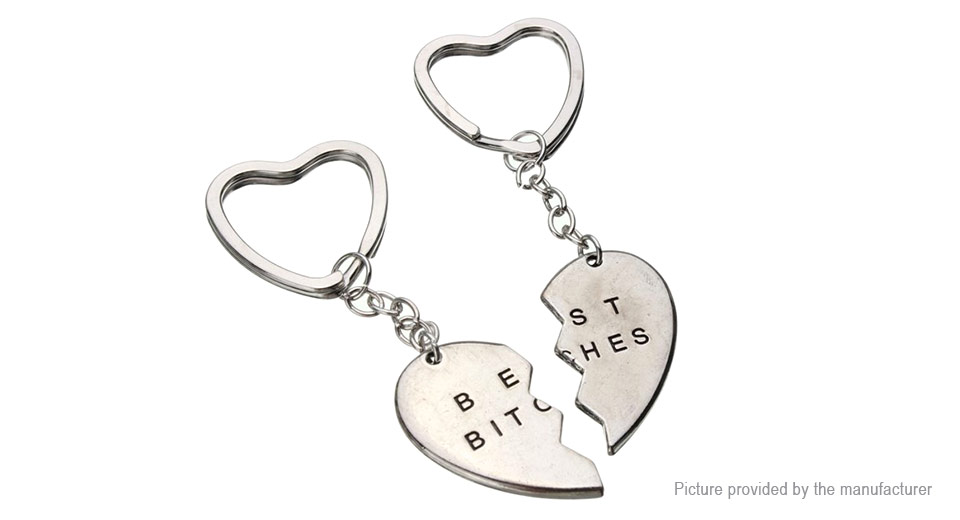 Love Heart Best Bitches Styled Alloy Couple Keychain (2 Pieces)
