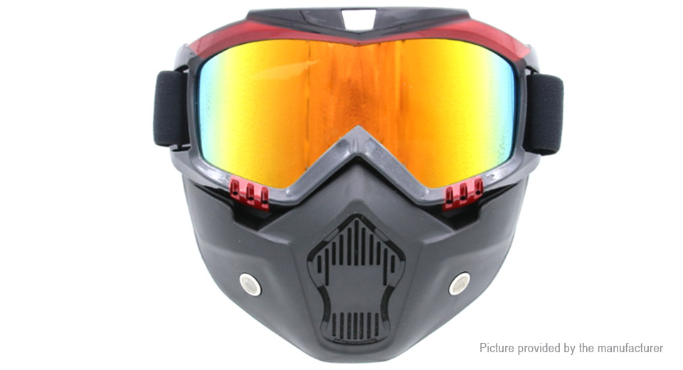 Motorcycle Windproof Dustproof Helmet Goggles w/ Removable Mask