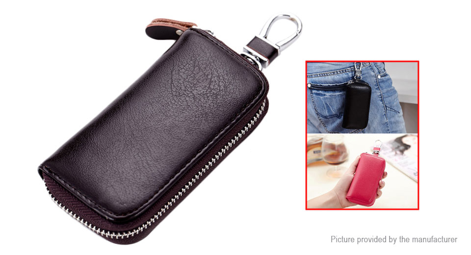 Unisex Leather Zipper Portable Car Key Bags Pouch Card Wallet