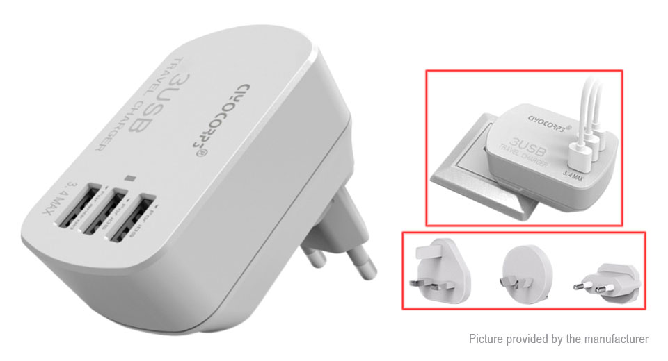 CIYOCORPS ES-D20 3-Port USB Travel Wall Charger (US)