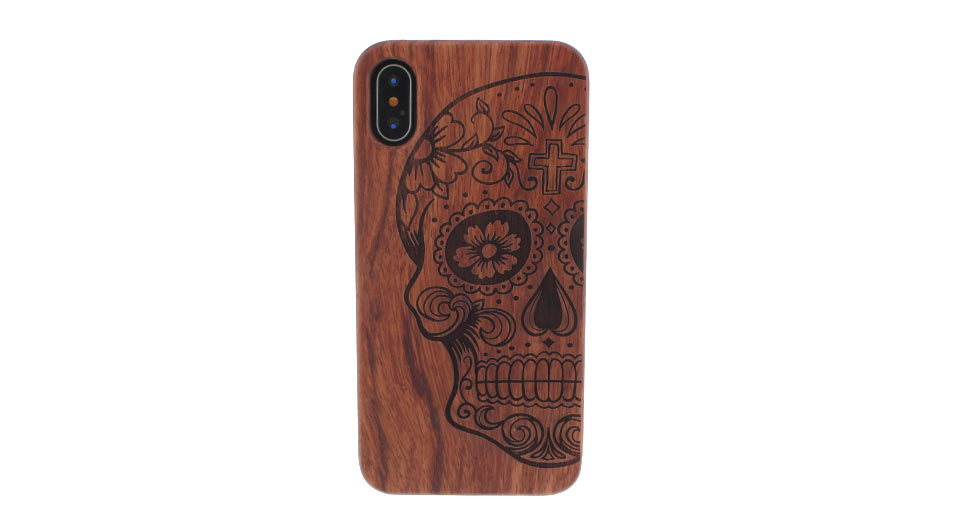 PC + Wooden Protective Back Case Cover for iPhone X