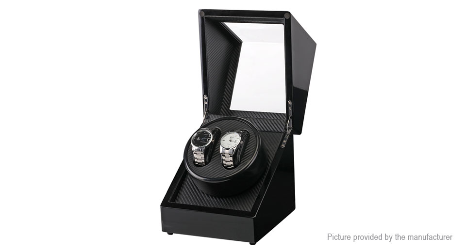 2-Compartment Automatic Rotation Watch Winder Storage Case Display Box