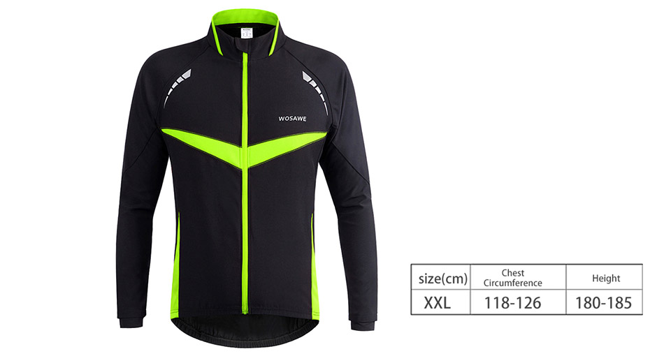 WOSAWE Outdoor Cycling Long Sleeve Windproof Jersey (Size 2XL)