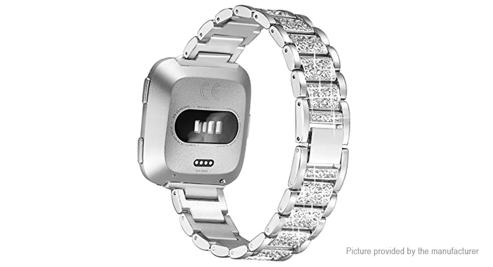 Diamond-encrusted Stainless Steel Watch Band Strap for Fitbit Versa