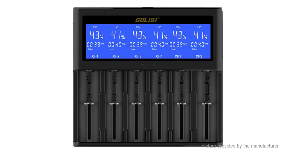 Golisi S6 6-Slot Smart Li-ion Ni-MH Ni-Cd Battery Charger (EU)