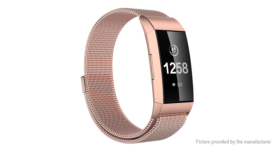 Stainless Steel Replacement Watchband Strap for Fitbit Charge 3 (Size L)