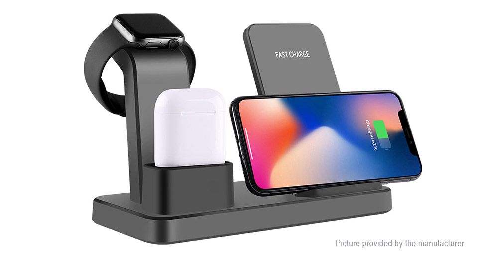 Q12 3-in-1 Wireless Charging Stand Dock for iPhone / Apple Watch / AirPods