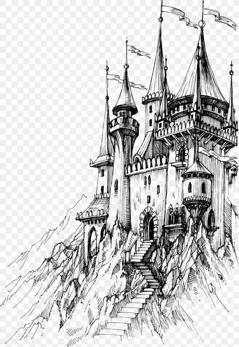 Castle Line Drawing : castle, drawing, Drawing, Castle, 1503x2180px,, Drawing,, Artwork,, Black, White,, Caravel, Download