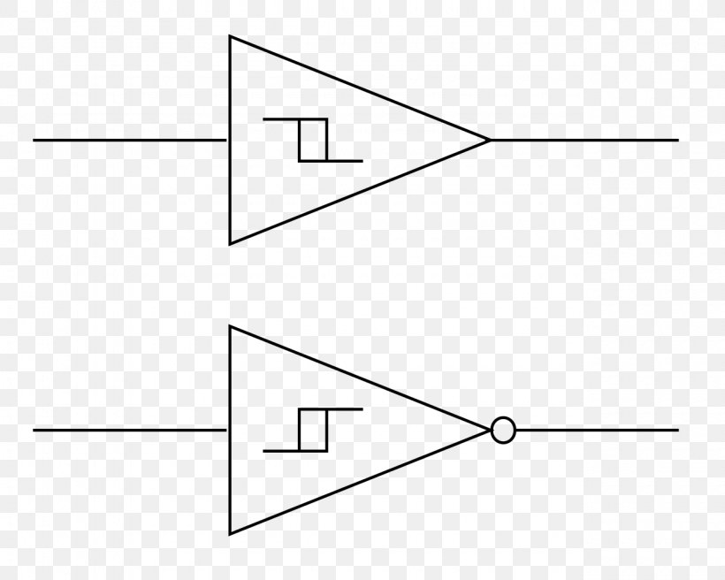 Schmitt Trigger Comparator Electronic Symbol Electronics Electronic Circuit. PNG. 1280x1024px. Schmitt Trigger. Area. Black And White. Circuit ...
