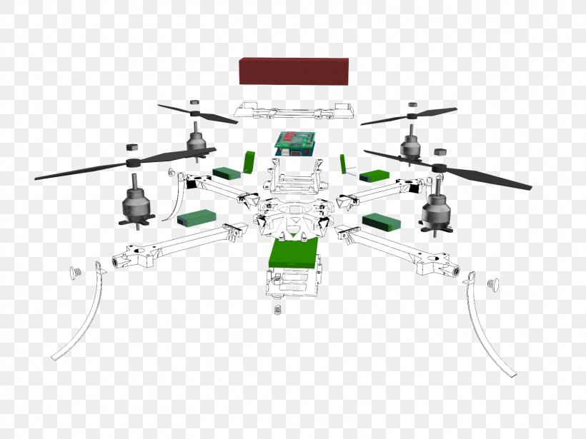 Exploded-view Drawing Unmanned Aerial Vehicle Quadcopter