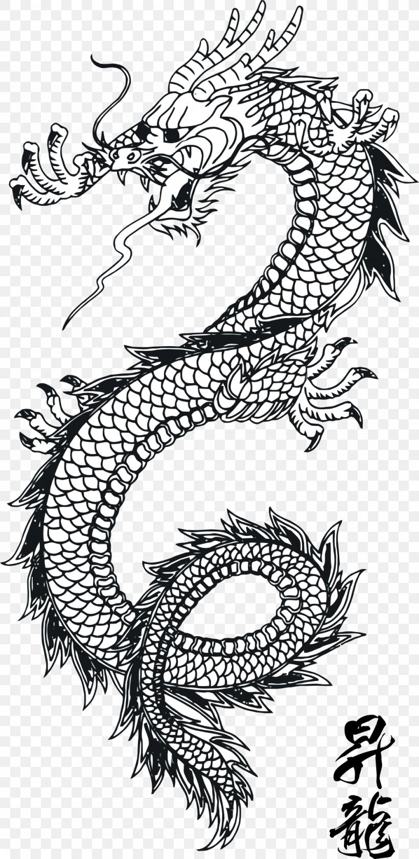 Dragon Clipart Black And White : dragon, clipart, black, white, Chinese, Dragon, 999x2047px,, China,, Black, White,, Dragon,, Download