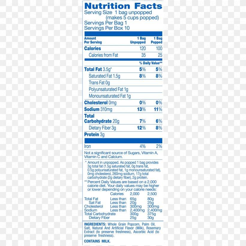 32 microwave popcorn nutrition label