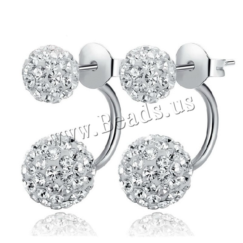 Double Faced Stud Earring Brass with Clay Pave Round real