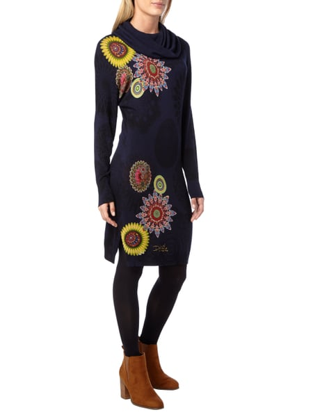 DESIGUAL Strickkleid mit BlumenPrints in Blau  Trkis