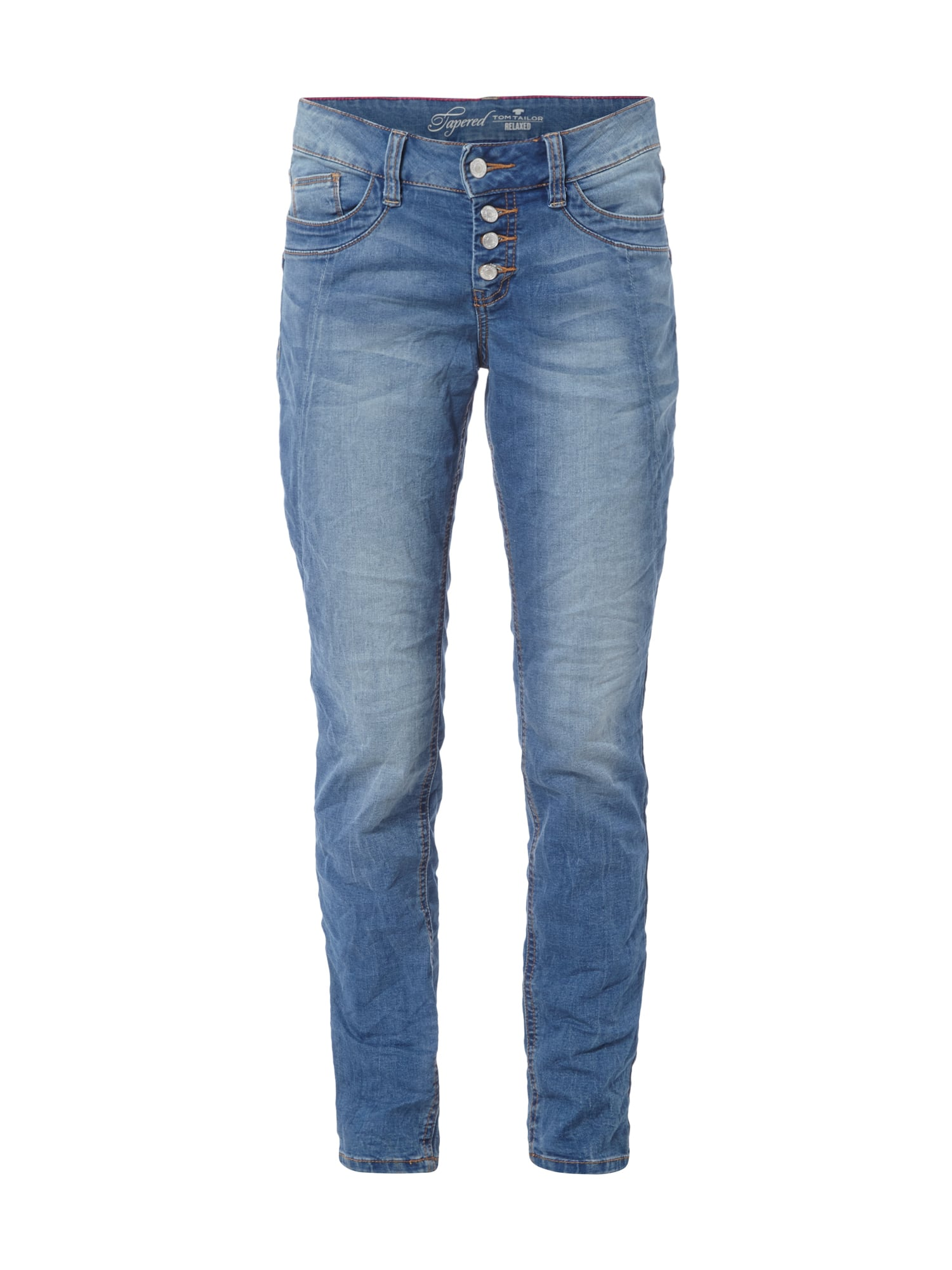 TOMTAILOR Relaxed Tapered Jeans mit CrinkleEffekt in