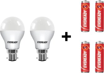 Eveready 7 W LED Bulb Pack of 2 with Free 4 Batteries(White,...