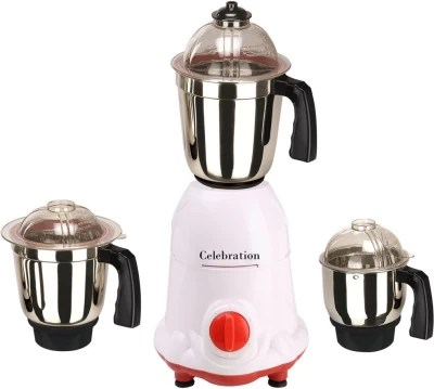 Celebration Celeb 750 ArwaWhiteRed 750 W Mixer Grinder(White, 3 Jars)
