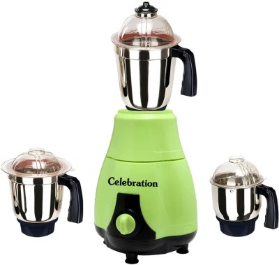Celebration MG16-186 750 W Mixer Grinder(Green, 3 Jars)