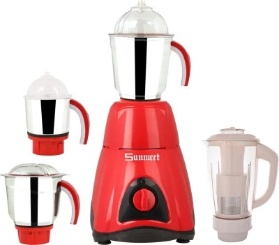 Sunmeet Style 600 W Mixer Grinder(Red, Black, 4 Jars)