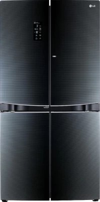LG 1001 L Frost Free Side by Side Refrigerator(GR-D34FBGHL, Luminous Black)