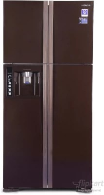 Hitachi 586 L Frost Free Side by Side Refrigerator(R-W660PND3, Glass Brown)