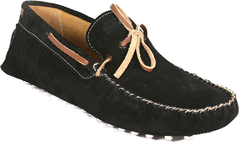 Araanha Suede Leather Driving Boat Shoes(Black)