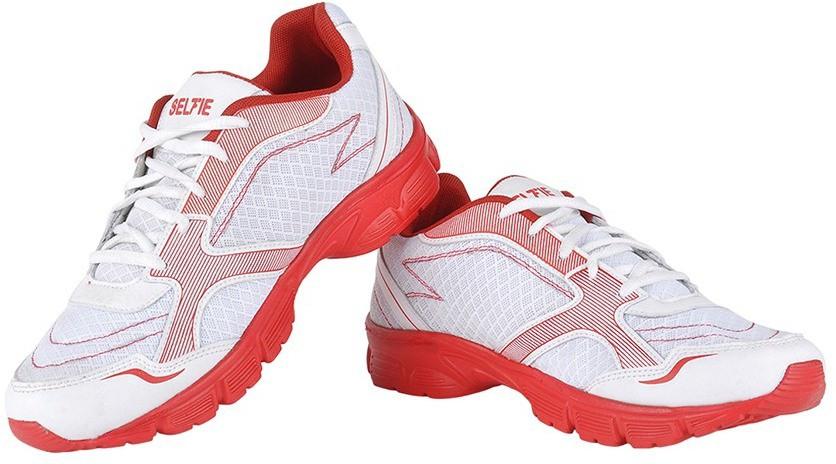 Selfie Seven Plain Running Shoes(White, Red)