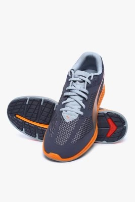 Puma Ignite Mesh Periscope-Quarry-Vermillion Orange Running Shoes(Grey)