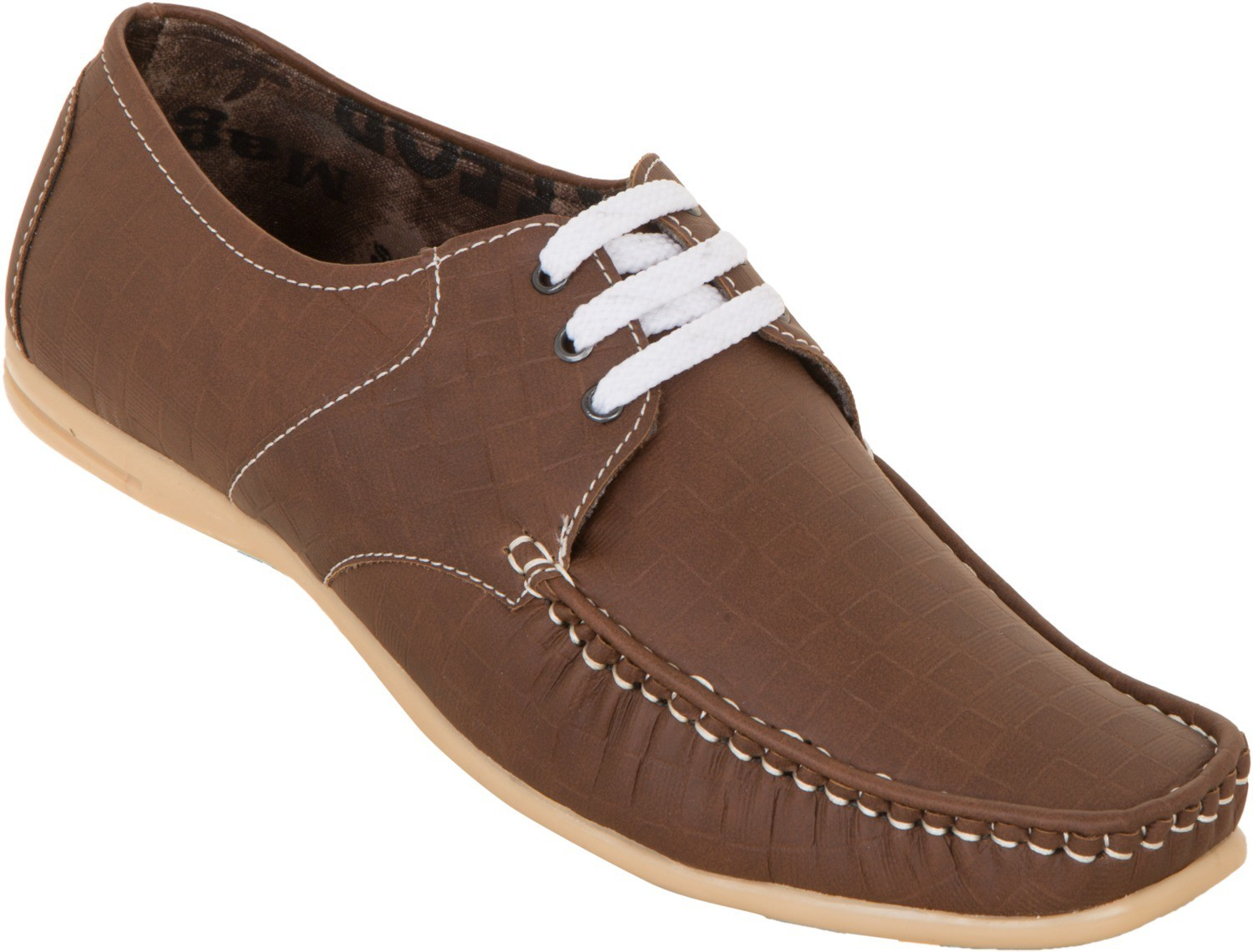 Zovi Brown With Textured Check Boxes Casual Shoes(Brown)
